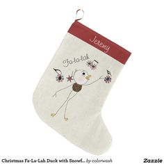 Christmas Fa-La-Lah Duck with Snowflake Music Large Christmas Stocking - Who wouldn't want a magical Christmas duck that sings Deck the Halls in notes made of snowflakes? It'll be a Christmas stocking to be saved and used every single year. Don't forget to personalize it for that special person in your life. #Christmas #stocking #ducks