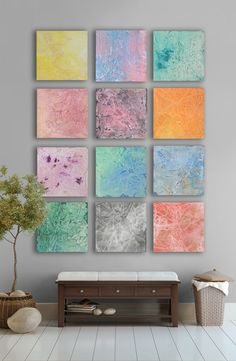 My artwork- Multicolor pastel Abstract art Painting, - 11 square huge CUSTOM Wall Art -Pink, yellow, terquoise, purple, Clay rose,Blue, Green, Gray, Orange On Etsy: https://www.etsy.com/listing/95962723/purple-and-yellow-easter-abstract-art?listing_id=95962723_slug=purple-and-yellow-easter-abstract-art
