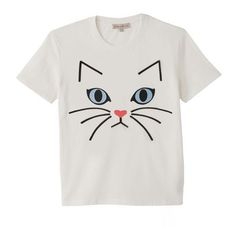 Timiaou T-Shirt with Cat Motif PAUL AND JOE SISTER ($26) ❤ liked on Polyvore featuring tops, t-shirts, cat top, white t shirt, white cat t shirt, cat t shirt and cat tee