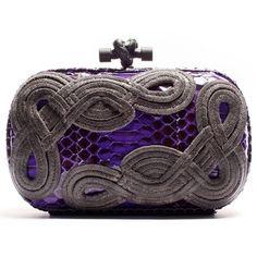 Bottega Veneta Violet Snakeskin Passamaneria Knot clutch