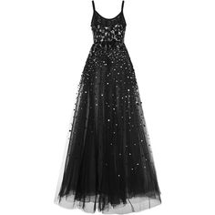 Elie Saab Sequin Embroidered Tulle Gown ($8,650) ❤ liked on Polyvore featuring dresses, gowns, a line ball gown, a line evening dresses, embroidered gown, a line gown and spaghetti strap gown