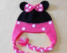 Touca de crochê Minnie Baby Patterns, Crochet Baby, Diy And Crafts, Beanie, Hats, Crochet Patterns Baby, Crochet Cap, Hair Streaks, Tejidos