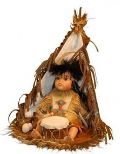 12 Inch Indian Boy Doll Seated in Tipi Playing Drums in Window Box ** Be sure to check out this awesome product. Native American Decor, Native American Dolls, Native American Artwork, Native American Indians, American Boy Doll, Indian Boy, Native Indian, Indian Pictures, Indian Pics