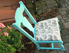 Shabby Chic Turquoise Distressed Dining Chair by Stefantastical, $35.00
