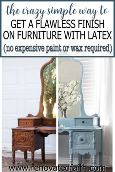 Whether your style is whimsical, funky or farmhouse, here's the easiest way to refinish antique furniture without brush strokes or streaks. This post & video tutorial also explains how to spray furniture knobs and handles with metallic spray paint. Included are color ideas & the best kind of paint for wood furniture: chalk paint vs. milk paint vs. latex paint. I also address if you can paint furniture without sanding. Glazing Furniture, Furniture Knobs, Furniture Refinishing, Chalk Paint Furniture, Diy Furniture Projects, Furniture Makeover, Spray Paint Furniture Without Sanding, Refinished Furniture, Diy Projects