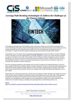 Technology has pervaded most of the industries today, and finance industry has not been left untouched by the wave of technology innovations. Financial technology solutions have taken the financial services industry by storm, revolutionizing the way key institutions such as banks work. Read full presentation here at SlideServe.
