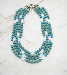 Turquoise Necklace.Statement Necklace.Chunky Necklace.Turquoise Bib.Bohemian Necklace.Boho Necklace.Big Bold Necklace. DAY DREAMER