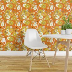 In The groove Secondary Floral ~ ©Claude - Spoonflower Furniture, Custom Wallpaper, Retro, Mold And Mildew, Wallpaper, Eames Chair, Home Decor, Groove, Wall Coverings