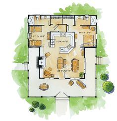 House Plan - Cottage Plan: Square Feet, 2 Bedrooms, 2 Bathrooms - Marilyn T. The Plan, How To Plan, Plan Plan, Cottage Floor Plans, Small House Floor Plans, 3d House Plans, Small Cottage Plans, Bunk Beds Built In, Cabin Plans