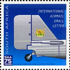 Stamp: Junkers JU52-3m (South Africa) (75th Anniversary of South African…