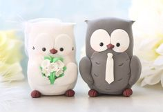 Owls wedding cake toppers personalized elegant by PassionArte, $104.00