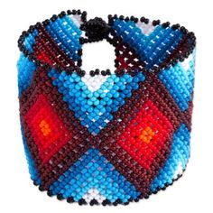 Glass beaded wristband bracelet, 'Red Diamonds' - Diamond Motif Glass Beaded Wristband Bracelet from Mexico Red Diamonds, Cheap Summer Outfits, Beaded Jewelry Patterns, Beaded Animals, Seed Bead Bracelets, Loom Beading, Diamond Pattern, Red And Blue, Glass Beads