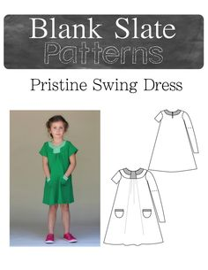 Pristine Swing Dress PDF Pattern Short or Long Sleeves 18M to 8 Years by Blank Slate Patterns - Lil Blue Boo Shop