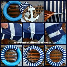 DIY Nautical Wreath Our DIY Nautical Wreath starts with a pool noodle – that's right a one dollar pool noodle. Pool Noodle Christmas Wreath, Pool Noodle Wreath, Pool Noodle Crafts, Christmas Ornament Wreath, Anchor Wreath, Nautical Wreath, Nautical Party, Nautical Craft, Tulle Wreath