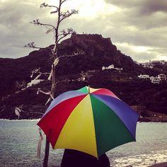 An oldman in the rain. Kapsali Kythera island, Greece.