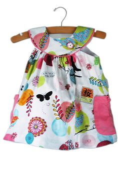 Baby girl pink summer dress with flowers and butterflies