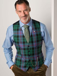 Morrison Blue Tartan Waistcoat - A flash of colour under a jacket or a bold statement on its own. You don't have to be a dyed in the wool clansman to sport the tartan. Clans Morrison and Buchanan have lent us their colours for this season's waistcoats, perfect for any occasion.