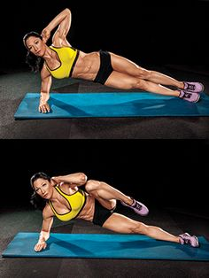 SIDE PLANK AND CRUNCH Works: Shoulder stabilization, core, obliques