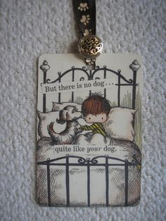 Handmade Bookmark,  Little Boy in Bed With His Pet,Using a  Picture from Joan Walsh Anglund   Book ,. , via Etsy.