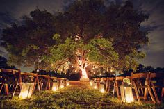Lanterns lining the aisle for an evening ceremony | Sarah Kate, Photographer