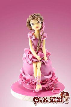Lady Valentine - cake by ChokoLate Fondant Figures Tutorial, Fondant Toppers, Fondant Cakes, Cupcake Cakes, Fondant Girl, Fondant Bow, Car Cakes, Marshmallow Fondant, Fondant Flowers