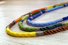 DIY naszyjnik boho ze skręcanych sznurków, muliny i drucika jubilerskiego