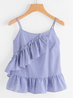 SheIn offers Vertical Striped Frill Trim Peplum Cami Top & more to fit your fashionable needs. Cute Girl Outfits, Cute Casual Outfits, Casual Wear, Girls Fashion Clothes, Kids Fashion, Fashion Outfits, Jumpsuits For Girls, Vertical Stripes, Cami Tops