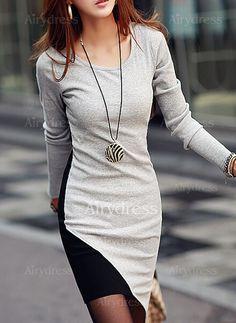 Dress - $15.67 - Cotton Blends Color Block Long Sleeve High Low Casual Dresses (1955122135)