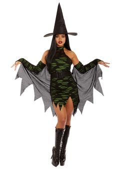 Miss Enchantment Adult Women's Costume - FOREVER HALLOWEEN Scary Halloween Costumes, Adult Costumes, Costumes For Women, Witch Shoes, The Worst Witch, Green Fabric, Looking For Women, Nice Dresses, Rooftop Party