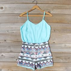 Crystal Wishes Romper in Turquoise, Sweet Lace Rompers from Spool No.72. | Spool No.72