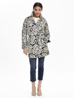 Looking for a statement coat? This embroidered denim coat, which ties at the waist, is bold yet sophisticated   Banana Republic