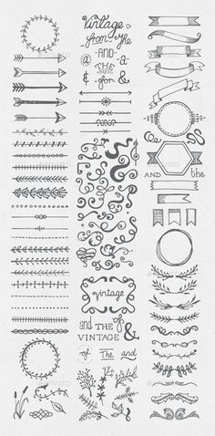Buy Hand Drawn Vintage Elements Collection by egirldesign-vectors on GraphicRiver. Hand drawn vintage elements collection A set of 111 hand drawn vintage elements – dividers, frames, ribbons, phrases . Bullet Journal Inspo, Borders Bullet Journal, Bullet Journal Lettering Ideas, Bullet Journal Banner, Bullet Journal Notebook, Bullet Journal Aesthetic, Bullet Journal Ideas Pages, Book Journal, Bullet Journal Frames