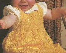 Knit Baby Dress Leaf pattern Pinafore Vintage Pattern knitting pullover romper  skirt lace aran turtleneck bobble  pdf download