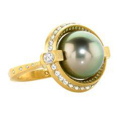 Spinning Tahitian Pearl, Diamond, and Sapphire Galaxy Ring