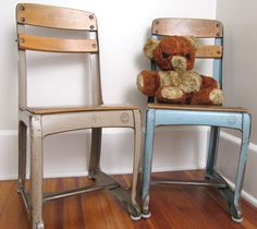Vintage Child Wood and Metal Chair American Seating Company Envoy, Kindergarten Chair. $39.00, via Etsy.