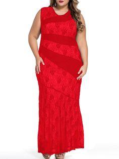 #AdoreWe #FashionMia Plus Size Midi & Maxi Dresses - FashionMia Round Neck Hollow Out Plain Striped Plus Size Evening Dress - AdoreWe.com