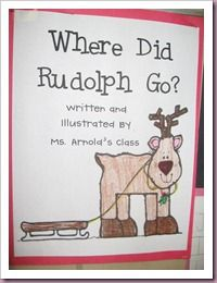 Here is a class book we created. I read the story Rudolph the Red Nosed Reindeer to my students. Then we brainstormed all the places Rudolph could go in Santa's sleigh the day after Christmas. The students came up with some pretty good places, including New York, Tokyo and Detroit. The skyline of New York is priceless.