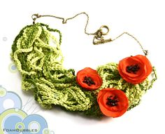 Poppy Field crochet Poppy Necklace. Red Textile popies necklace. Green and red textile necklace. on Etsy, $28.00