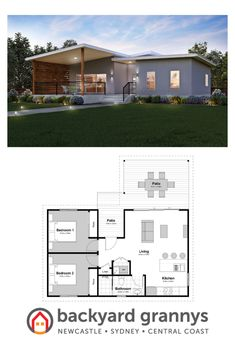 The Myall 2 bedroom granny flat - Anna Ferris - HOME House With Granny Flat, Granny Flat Plans, Small House Floor Plans, Dream House Plans, Roof Design, House Design, Hidden Laundry, Three Bedroom House Plan, Alfresco Area