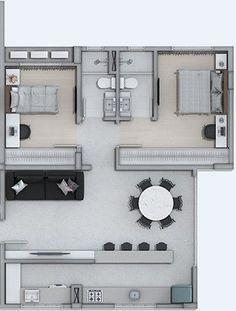 Blumenau Vertical - O site dos edifícios de Blumenau: Edifício Ace - Vila Nova Small House Floor Plans, Modern House Plans, House Layout Plans, House Layouts, 2 Bedroom House Plans, Apartment Floor Plans, Apartment Layout, Sims House, Small House Design