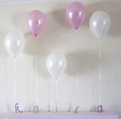 letters of name with balloons- 1st Birthday party idea