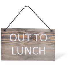 Garden Trading Wooden Hanging Sign - 'Out to Lunch' (£12) ❤ liked on Polyvore featuring home, home decor, wall art, text, fillers, words, signs, quotes, backgrounds and phrase