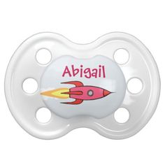 Pink Retro Rocket Ship Baby Pacifier - Cute Cartoon Design.  Personalize with a name or customized text.  This cute pink retro rocketship is blasting off into outerspace. Cute gift for a mom to be who is into funny & geeky space science stuff. Makes a great girl power /  feminist gift for the nasa, space exploration, aerospace science, or aeronautical engineering enthusiast, or future rocket scientist or astronaut. #rocketgeek #rocketgirl #rocketkids #cutebabystuff