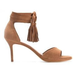 Sarah Chofakian Tassel Detail Sandals (20,995 INR) ❤ liked on Polyvore featuring shoes, sandals, brown tassel sandals, brown shoes, brown sandals, sarah chofakian and tassel sandals