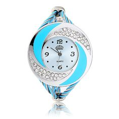 CUSSI Crystal Round Dial Alloy Weave Band Women Bracelet Analog Watch