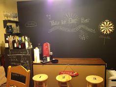 Chalkboard wall in dining room and DIY bar