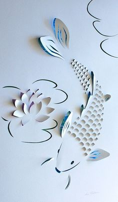 Koi with Lotus Flower origami, artist unknown 3d Paper Art, Diy Paper, Fine Art Paper, Paper Cutting Art, Kirigami, Diy And Crafts, Crafts For Kids, Arts And Crafts, Origami Paper