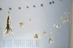 paper garland tutorial, cut paper garland, space garland, scandinavian design for children via oh my handmade goodness