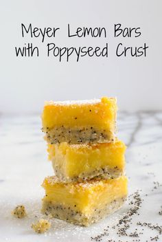 Meyer Lemon Bars with Poppyseed Crust - A flaky poppyseed crust topped with tart and sweet Meyer lemon filling. #SundaySupper with @dixie Crystals.
