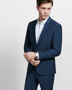 skinny innovator navy blue performance stretch wool blend suit jacket